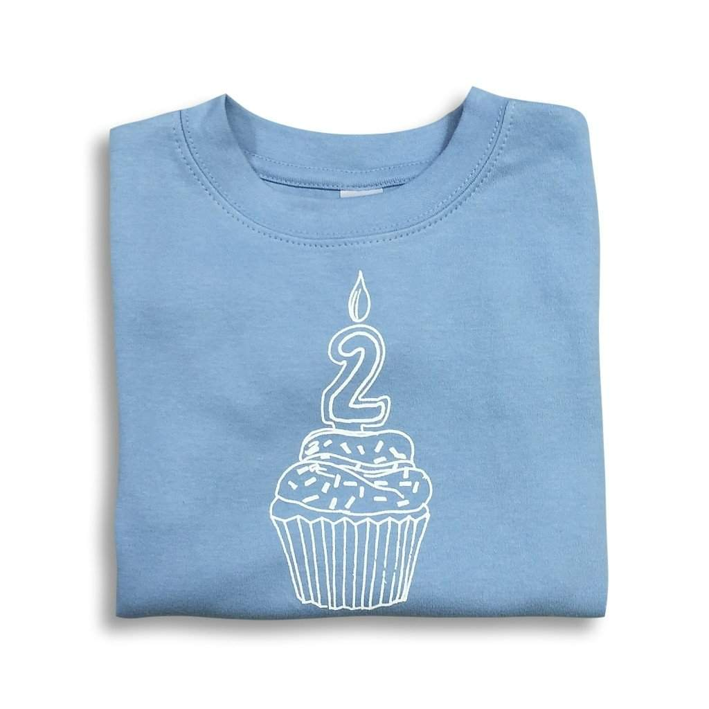 2nd Birthday Blue Short Sleeve Tee - Honey Bee Tees - 1