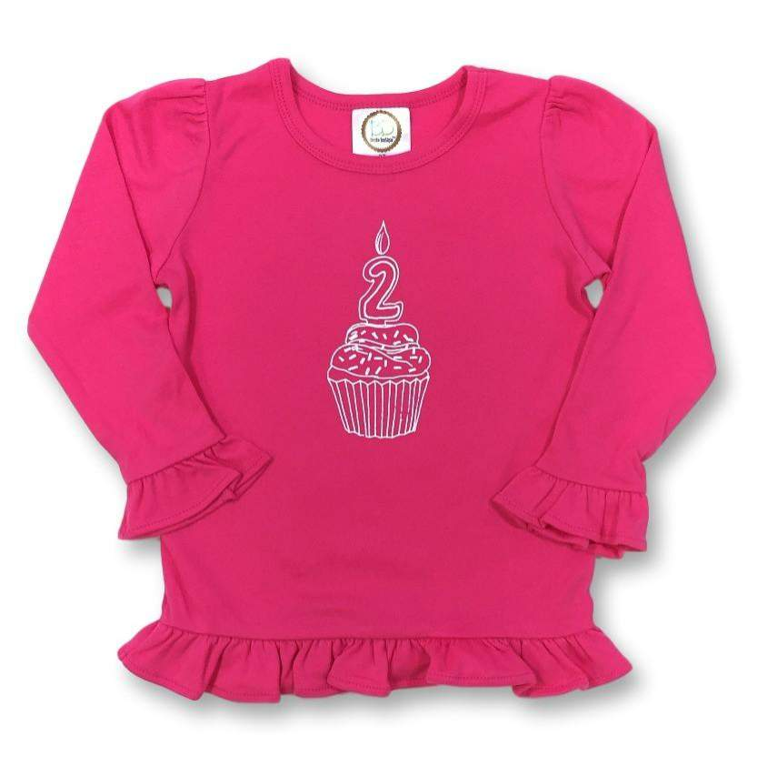 2nd Birthday Pink Long Sleeve Ruffle Tee - Honey Bee Tees