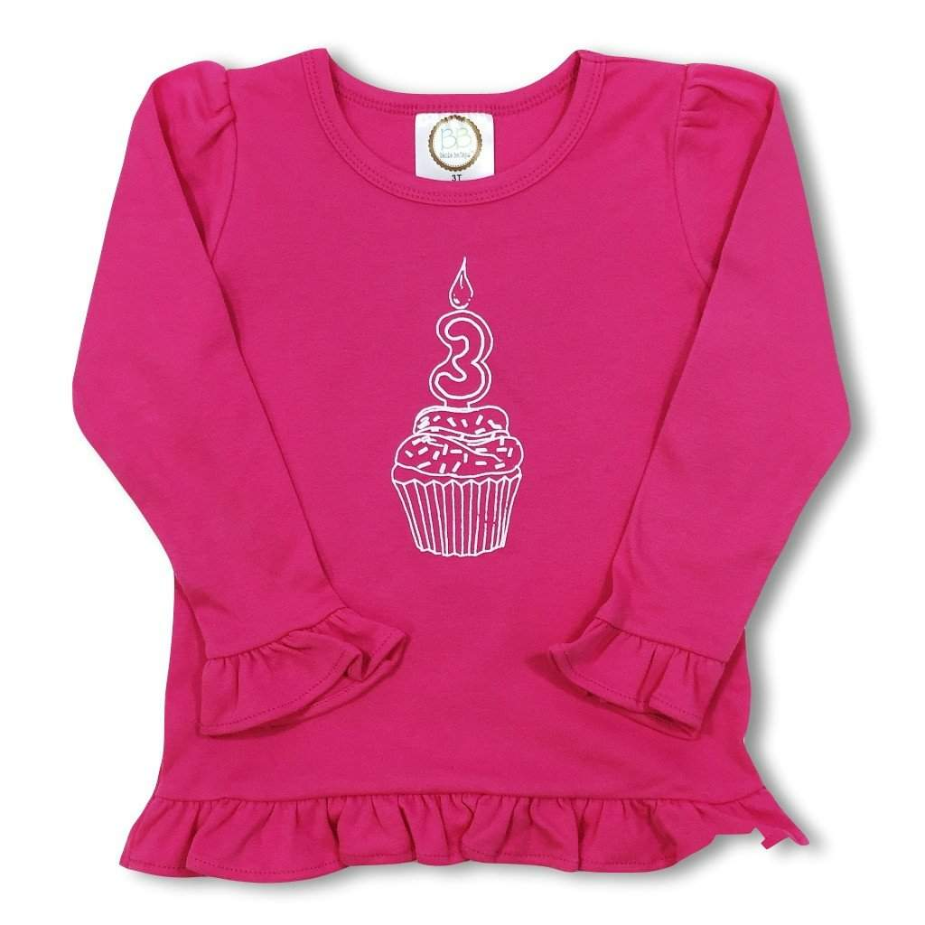 3rd Birthday Pink Long Sleeve Ruffle Tee - Honey Bee Tees