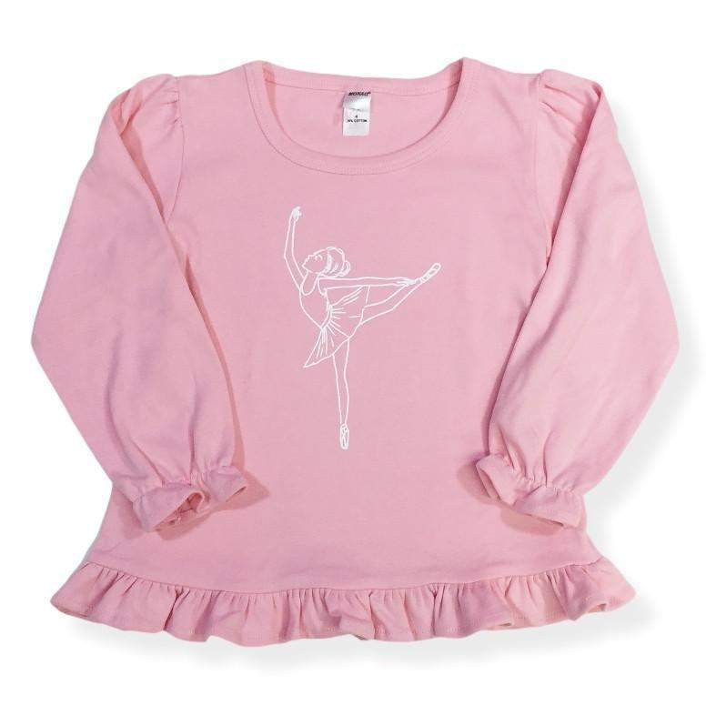 Ballerina Long Sleeve Ruffle Tee - Honey Bee Tees