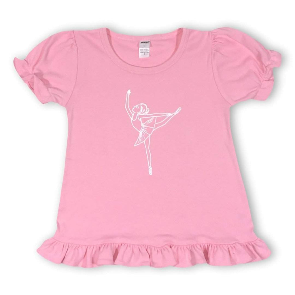 Ballerina Short Sleeve Ruffle Tee - Honey Bee Tees