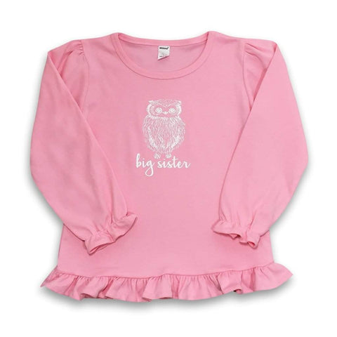 Big Sister Owl Long Sleeve Ruffle Tee
