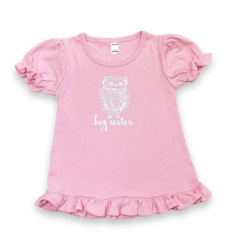 Big Sister Owl Short Sleeve Ruffle Tee