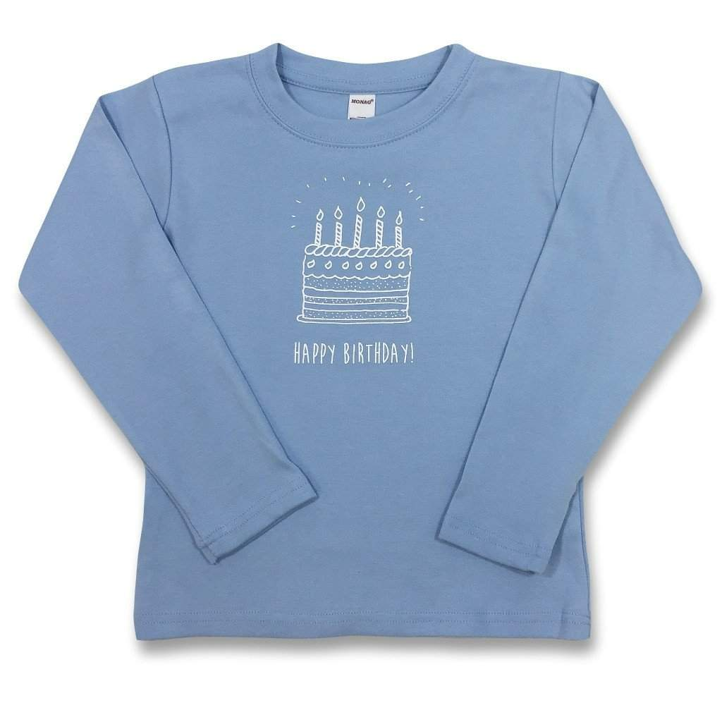 Birthday Cake Blue Long Sleeve Tee Honey Bee Tees