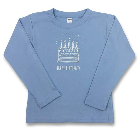 Birthday Cake Blue Long Sleeve Tee