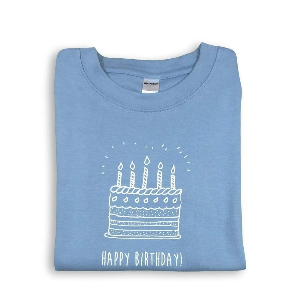 Birthday Cake Blue Short Sleeve Tee - Honey Bee Tees - 1
