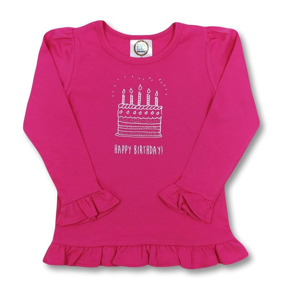 Birthday Cake Pink Long Sleeve Ruffle Tee - Honey Bee Tees