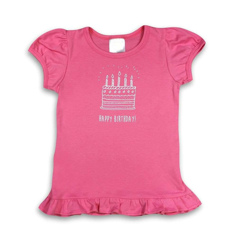Birthday Cake Pink Short Sleeve Ruffle Tee - Honey Bee Tees