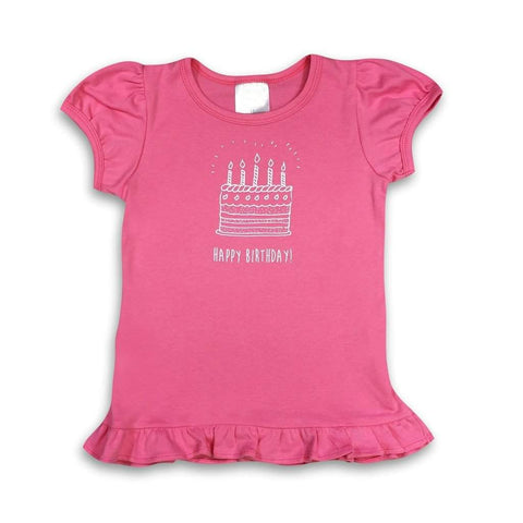 Birthday Cake Pink Short Sleeve Ruffle Tee