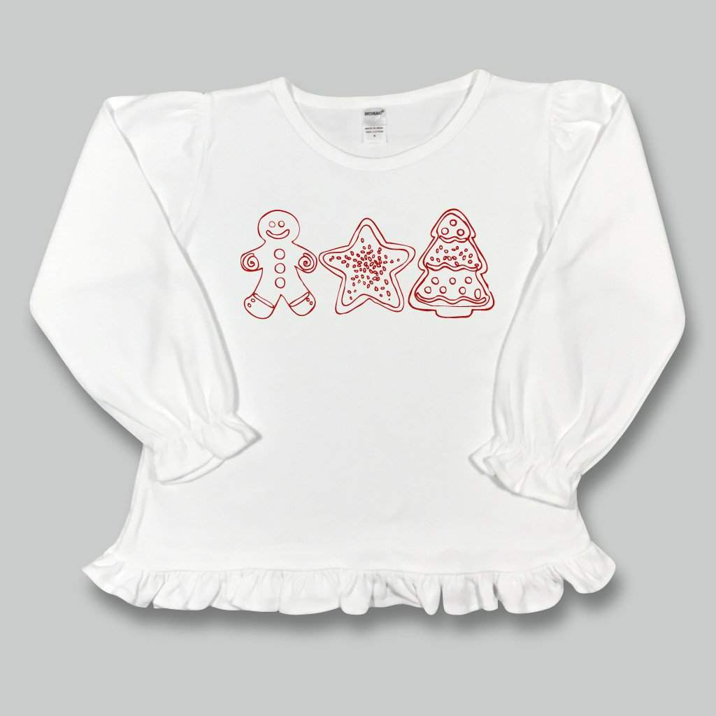 Christmas Cookies Long Sleeve Ruffle Tee - Honey Bee Tees