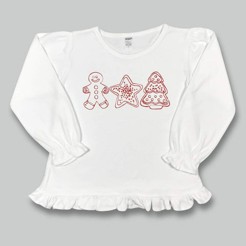 Christmas Cookies Long Sleeve Ruffle Tee