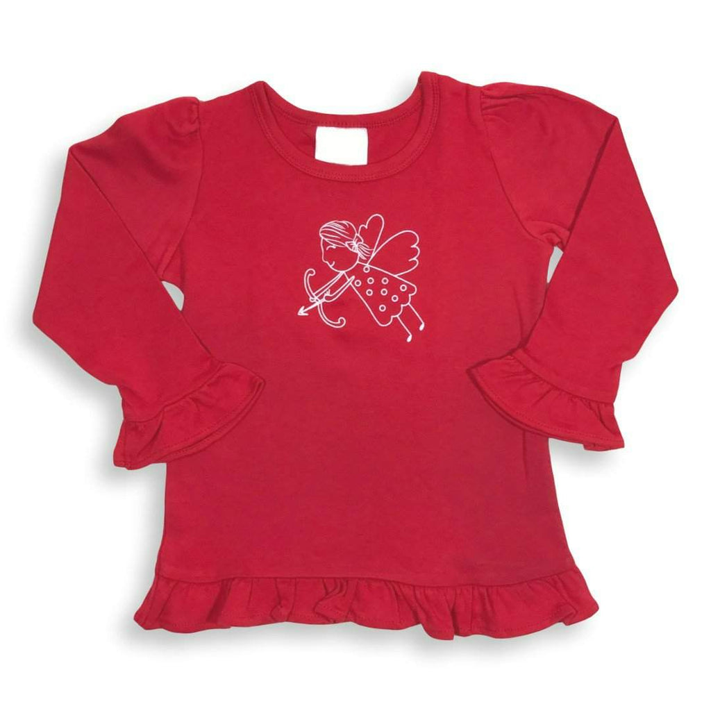 Cupid Long Sleeve Ruffle Tee - Honey Bee Tees - 1