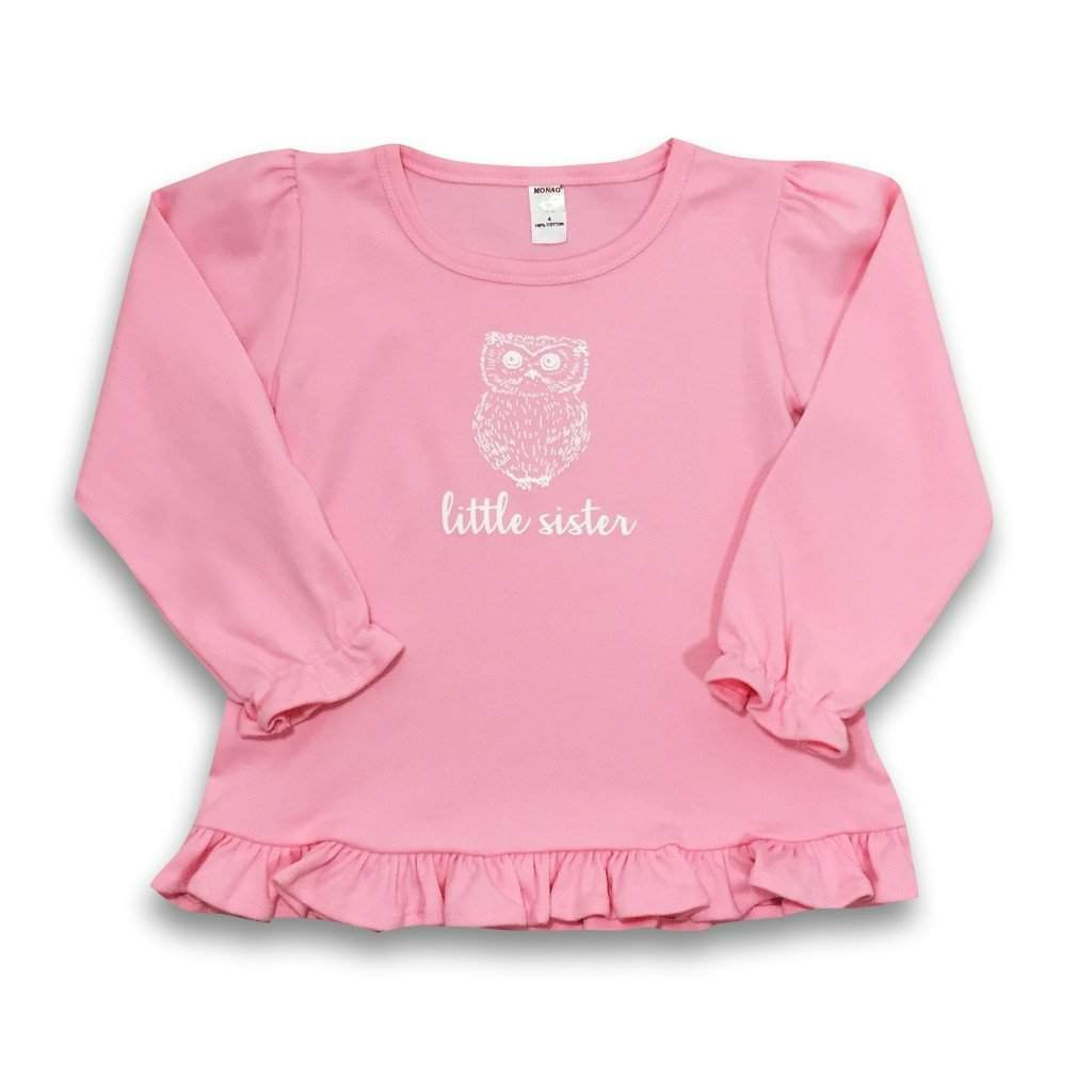 Little Sister Owl Long Sleeve Ruffle Tee - Honey Bee Tees