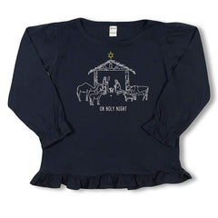 Nativity Long Sleeve Ruffle Tee - Honey Bee Tees