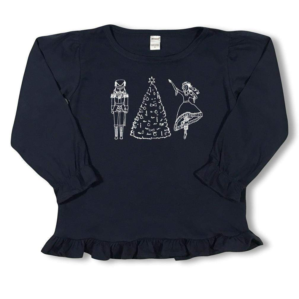 Nutcracker Ballet Long Sleeve Ruffle Tee - Honey Bee Tees