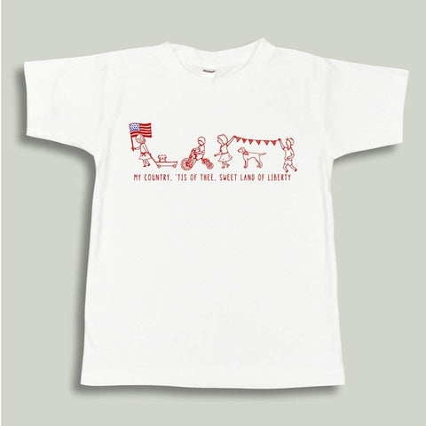 Patriotic Parade White Short Sleeve Tee