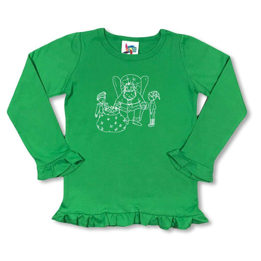 Santa and Elves Long Sleeve Ruffle Tee - Honey Bee Tees - 1