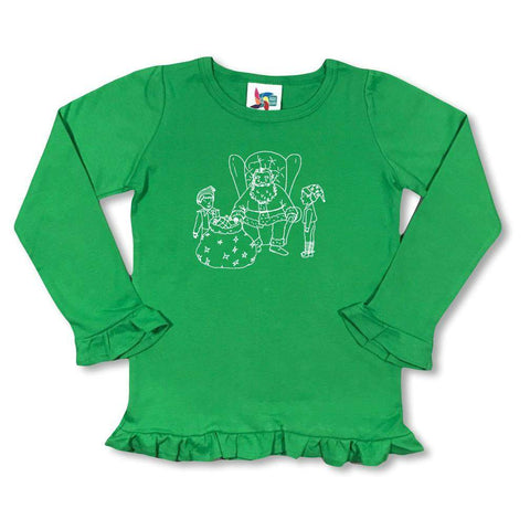 Santa and Elves Long Sleeve Ruffle Tee