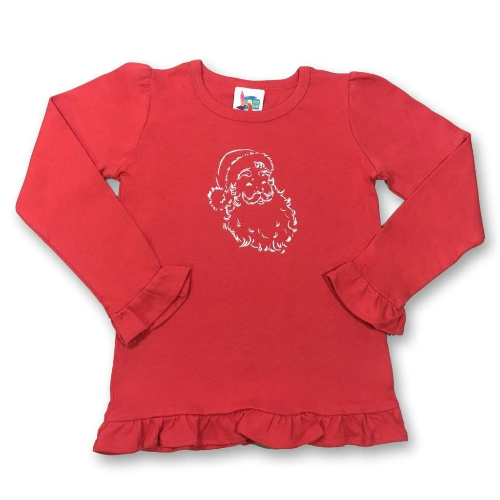 Santa Claus Long Sleeve Ruffle Tee - Honey Bee Tees