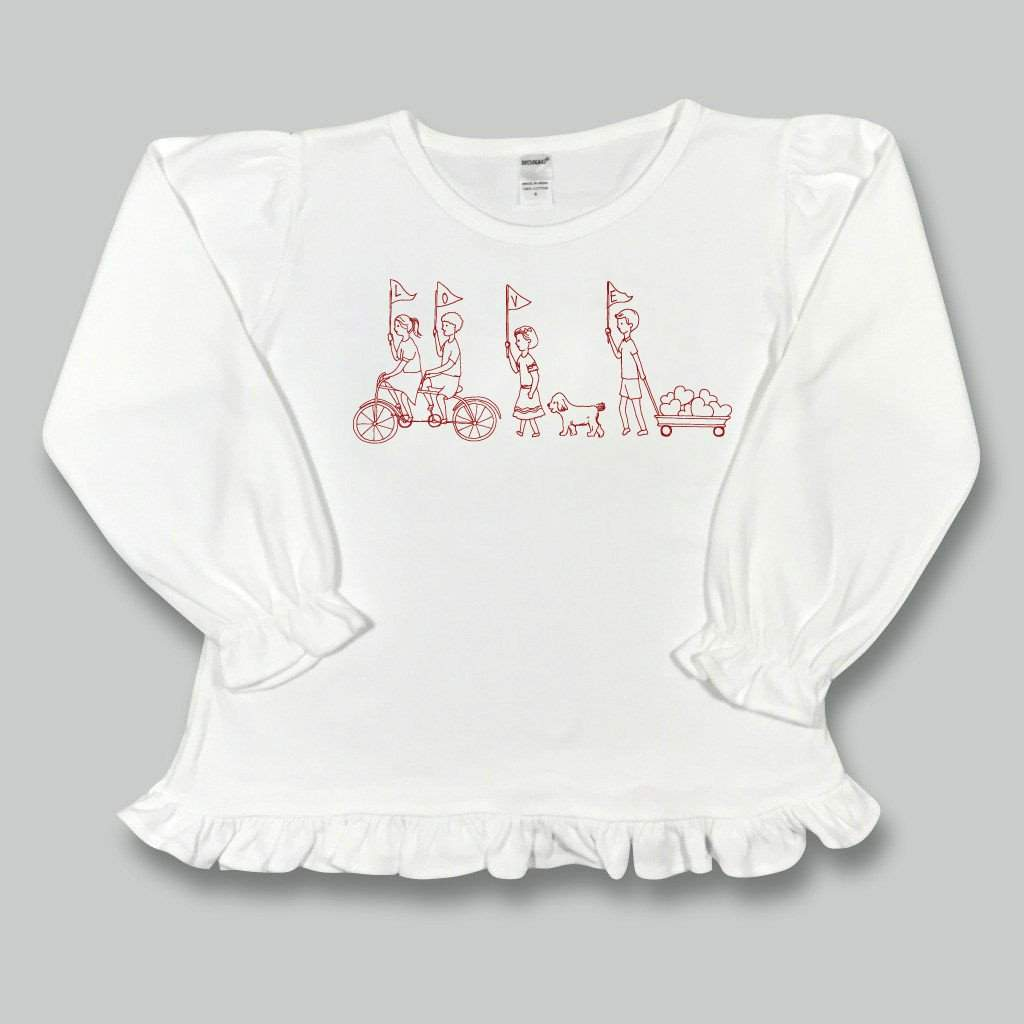 Valentine's Parade Long Sleeve Ruffle Tee - Honey Bee Tees - 1