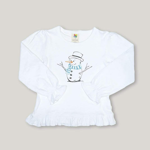 Snowman Long Sleeve Ruffle Tee