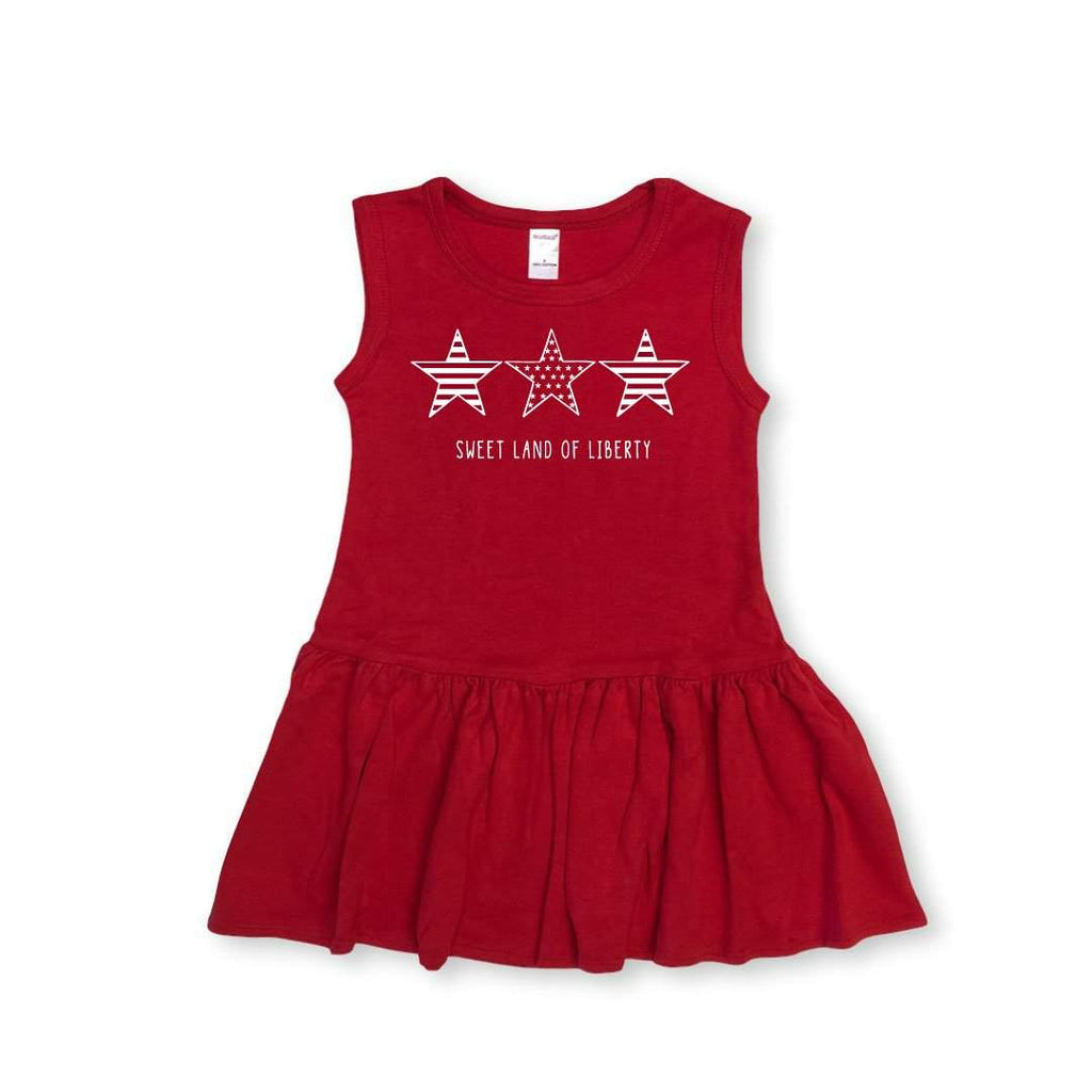 Stars-n-Stripes Sleeveless Pleated Dress