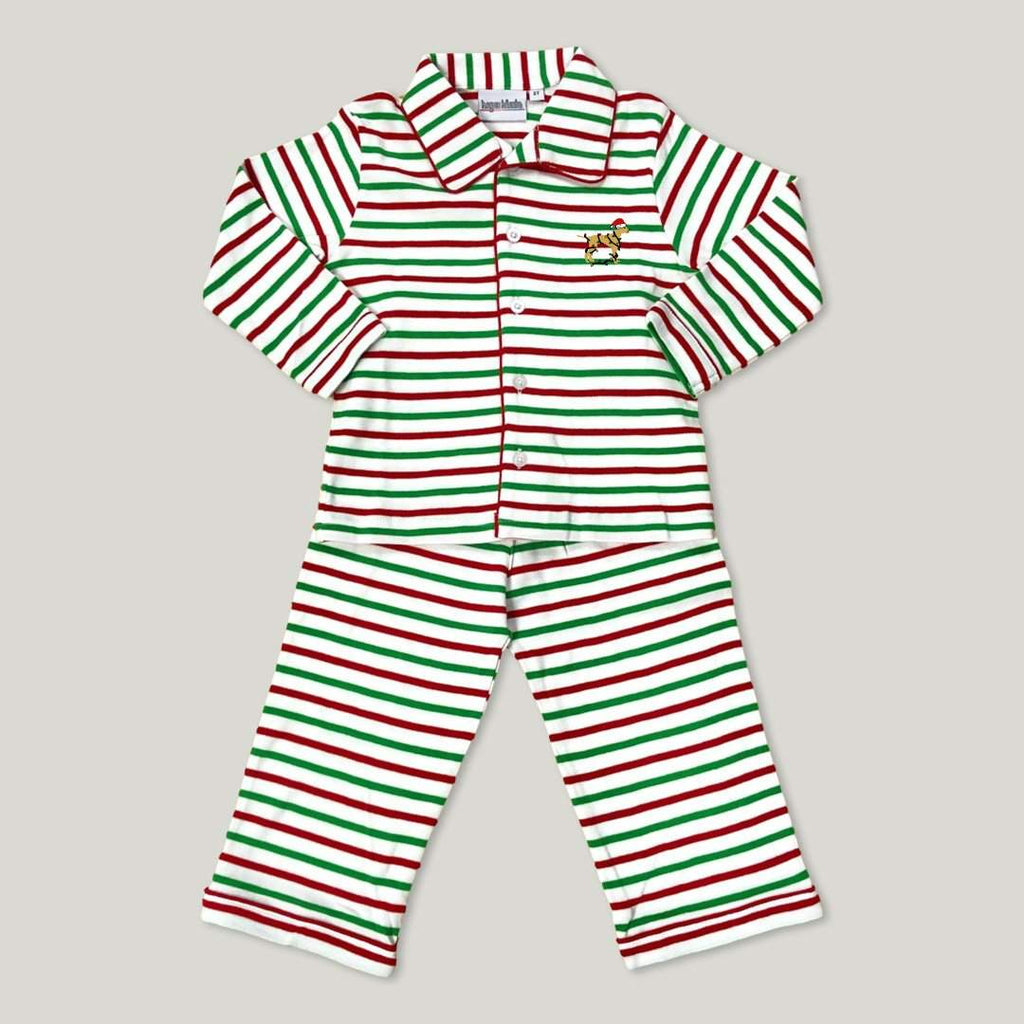 Jingle Dog Striped Button Pajamas