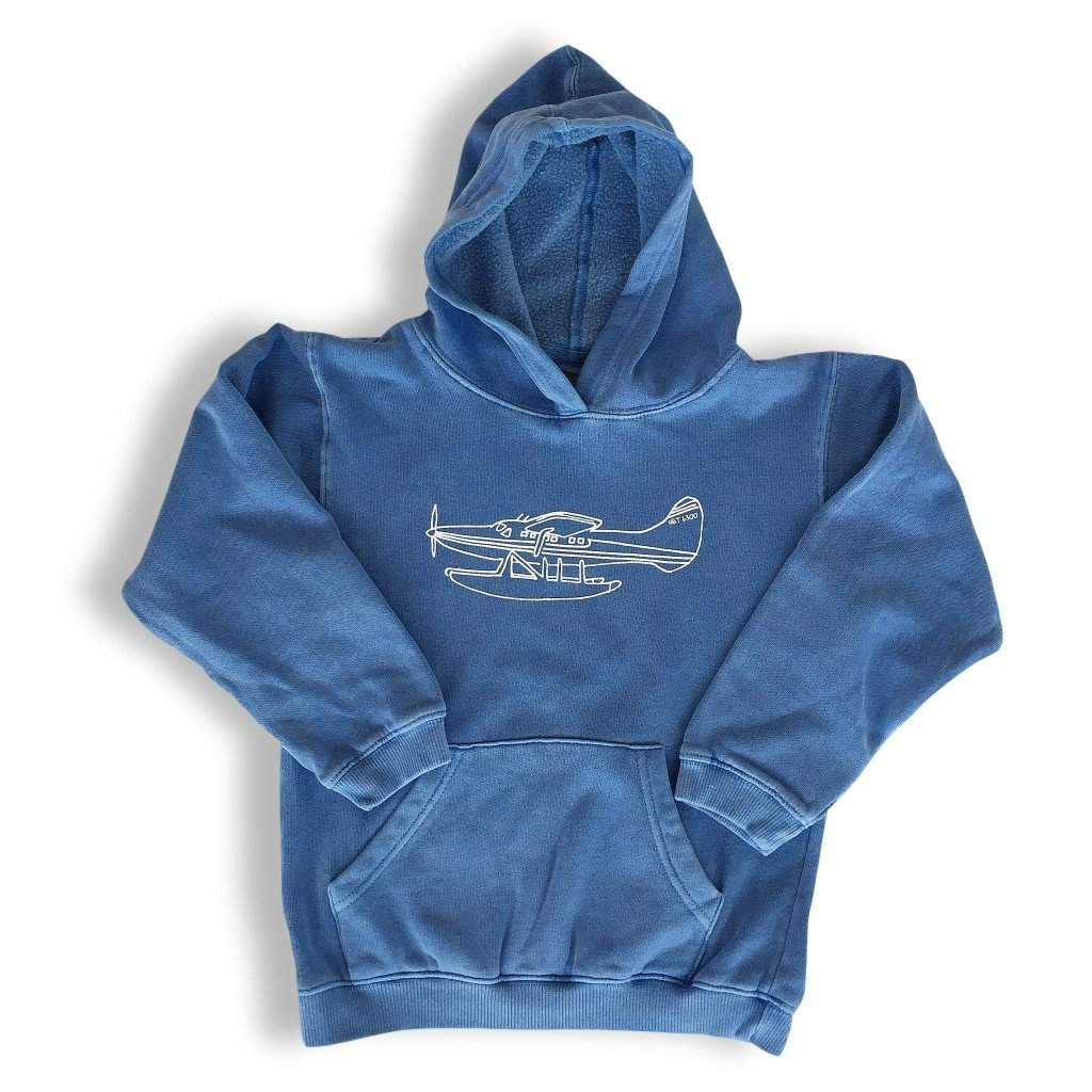 Float Plane Blue Hooded Sweatshirt - Honey Bee Tees