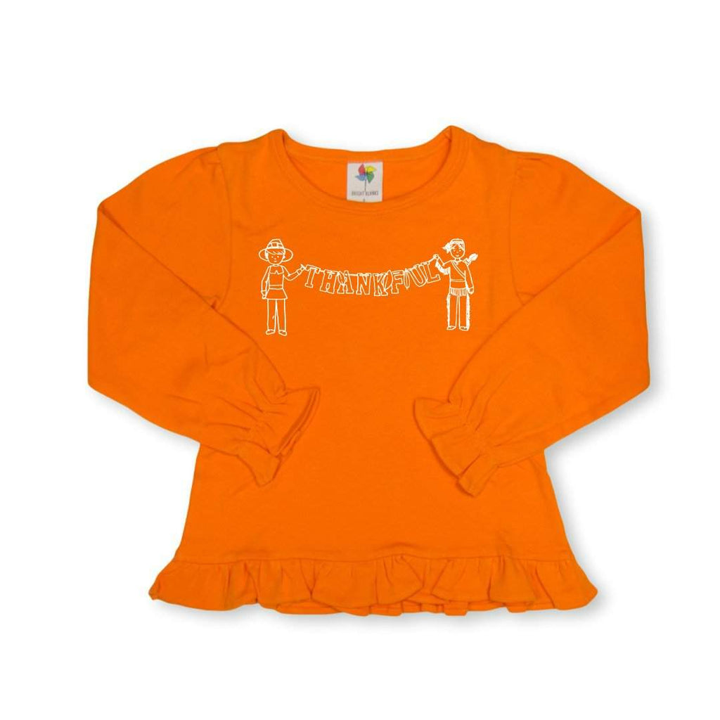 Thankful Long Sleeve Ruffle Tee