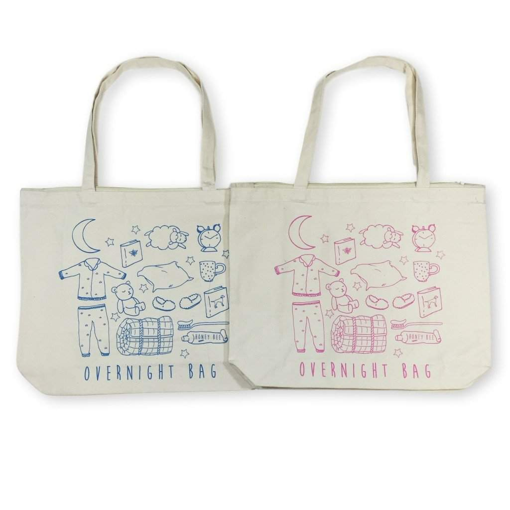 """Overnight Bag"" Zipper Tote Bag - Honey Bee Tees - 1"