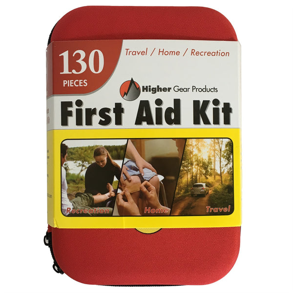 First Aid Kit for Car, SUV and Marine by Higher Gear - Perfect Emergency Medical Kit for Home, Business, Travel, Hiking, Backpacking, Camping and Sports - 130 Pieces, Hard Shell Case + Bonus eBook