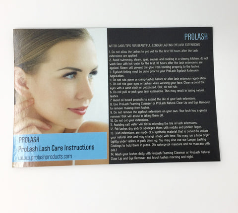 Eyelash Extension After Care Cards by ProLash