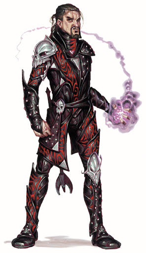 image description: an illustration of a pale man with dark hair and a goatee in studded leather armor. His left hand is surrounded in purple flame, as though he has just summoned it with a spell. End description.