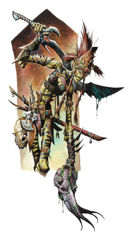 An illustration of an Illithid Slayer. It shows a githyanki warrior in thin strips of leather armor, with spotted yellow skin and spiky hair, holding a mind flayer head and carrying a large sword.