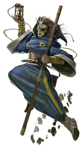 An illustration of a Zerth Cenobite monk. It shows a githyanki in blue robes in midair, holding a quarterstaff and an hourglass.