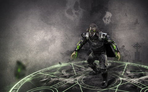 Image Description: an illustration of a man in leather armor standing on a glowing magical circle against a grey background. End Description.