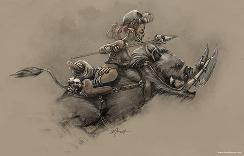 Image Description: An illustration of a small humanoid creature riding on a warthog. The creature holds a spear, and has various skulls scattered on the saddle of the hog. End Description.