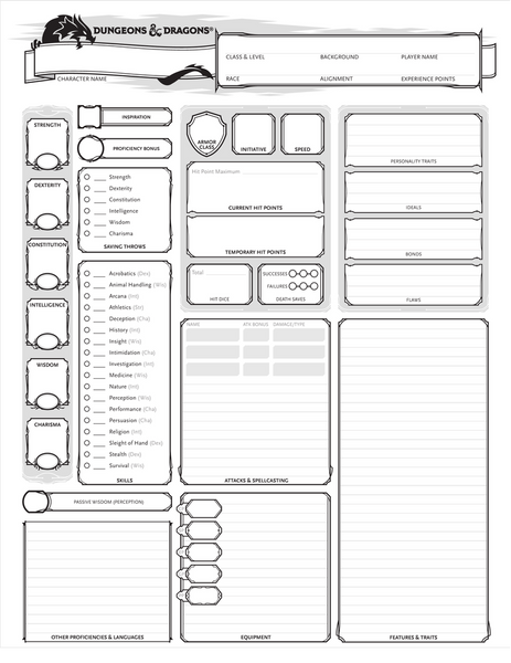 Image Description: an image of a 5e character sheet, with the short list of skills located on the left, next to the ability scores.