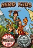 """An image of a cover of the """"Hero Kids"""" rpg. It features three cartoon children in fantasy clothing and armor, apparently coming toward the viewer. Below the children are two badges indicating that the game is a best seller and has won an ENNIE award."""