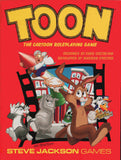 """An image of the cover of the """"TOON"""" game. It features several cartoon animals, including a rabbit, cat, dog, and duck, emerging from a film silhouette, while a cartoon man is launched on a missile, into a red background."""