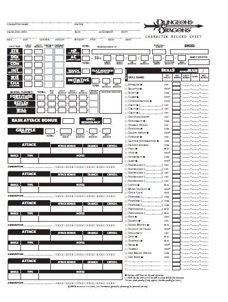 Image Description: an image of 3e character sheet, with the long list of skills on the right of the page.