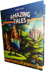 """An image of the cover of the """"Amazing Tales"""" game. It features a cartoon woman with a large hammer standing on a cliff. Behind her can be seen a distant castle, and above her is several space ships in outerspace."""