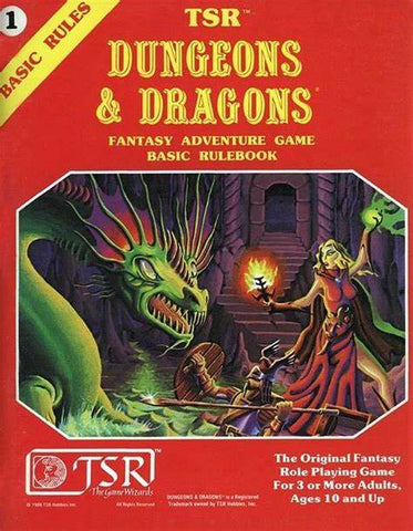 A photo o the original basic rulebook for Dungeons and Dragons. It features a red cover with yellow lettering, and a painted image of a wizard fighting a dragon with a fire spell
