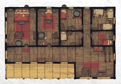A photo of a premade battle map for tabletop rpgs. It looks like the interior of house, divided into several rooms, seen from overhead with a square grid overlaid.