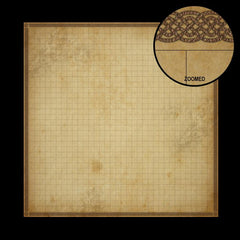 A photo of a battle mat for dungeons and dragons. It looks like a large scroll with a square grid over top of it, with a celtic border around the edges, which is enlarged enough to see detail in a circle in the corner.