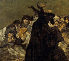 An oil painting of a devil - a goat in a black cloak, walking on two feet - surrounded by a crowd, apparently speaking to him