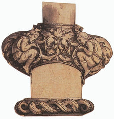 A photo of a bollocks dagger handle. It's wooden, with carved cherubs on each bulb of the guard