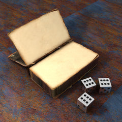 A digital image of a blank notebook on a wooden table. Next to the notebook is 3 six sided dice, with the 6 result revealed on each die.