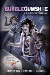 """An image of the cover of the """"Bubblegumshoe"""" game. It features a teenage girl with dark hair, wearing a purple coat holding a flashlight, while a teenage boy next to her types on a computer, and a teen girl behind her looks through window blinds with a pink gum bubble emerging from her mouth."""