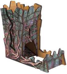 A Call of Cthulu dice tower, as for sale on D20Collective, assembled to resemble a crumbling Lovecraftian tower
